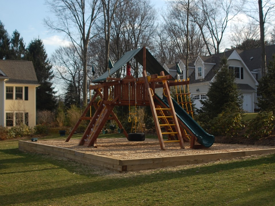 Outdoor playground with state certified playground mulch