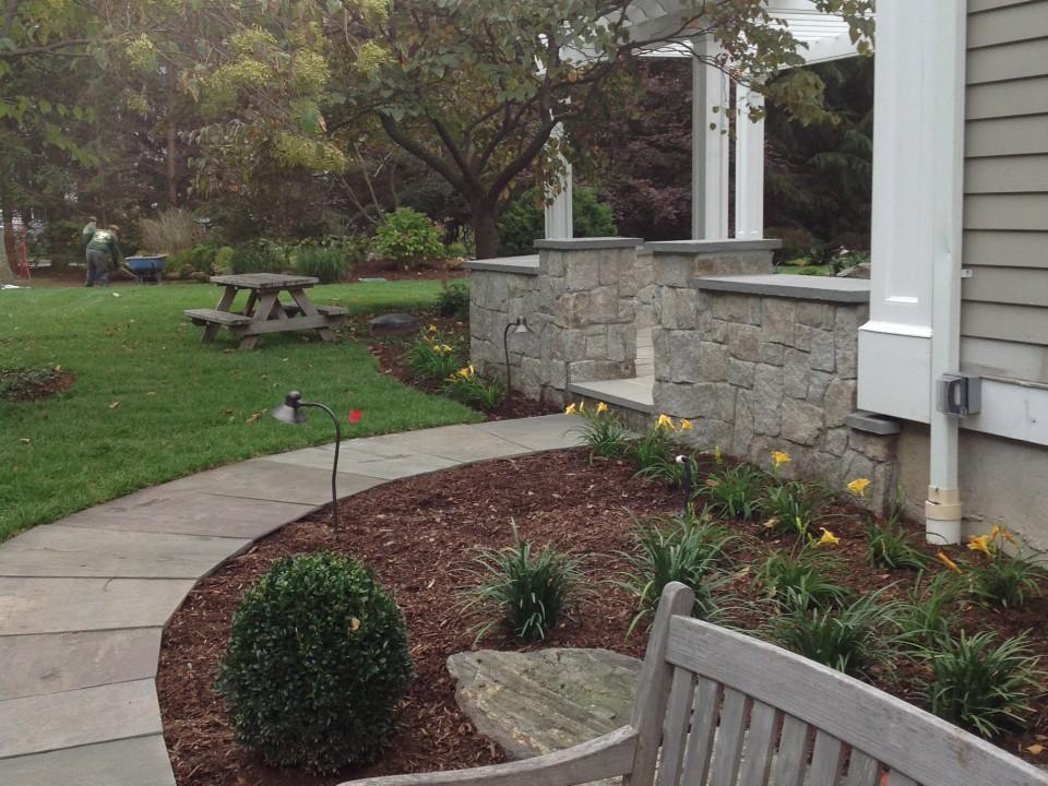 Bluestone Path with Granite Wall and Bluestone Caps