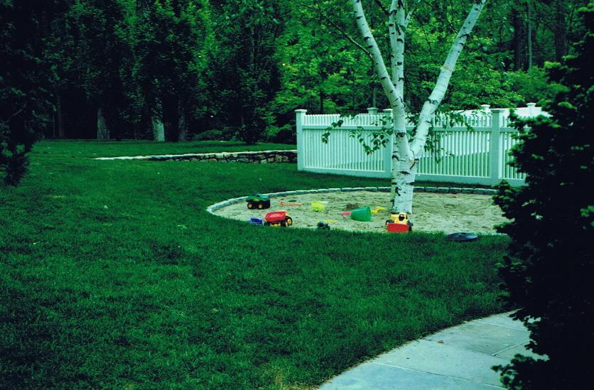 Outdoor sandbox with Birch treet