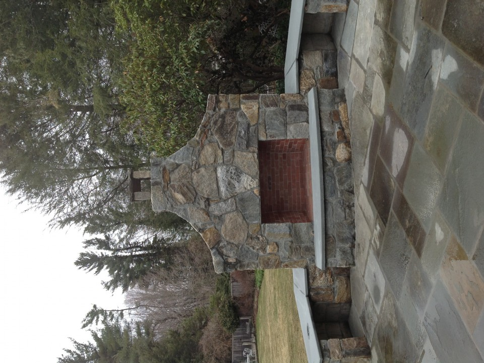 Outdoor Fireplace With Bluestone Sitting Wall