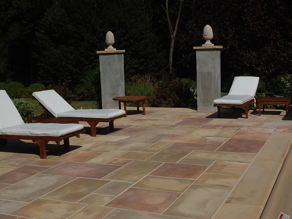 Indiana limestone deck