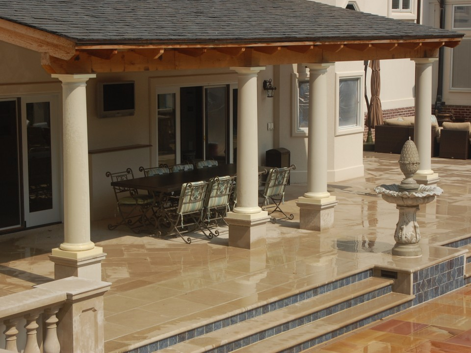 Indiana limstone treds with tile risers