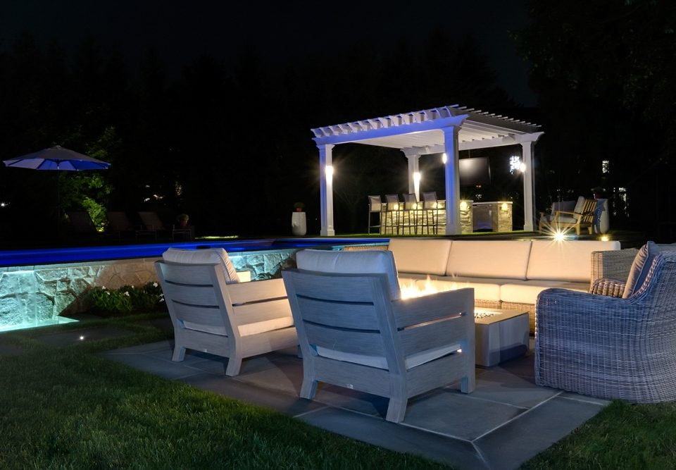 Fire Pit with accent lighting